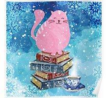 Bookish Cat in Winter Poster