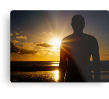 Iron Man at Sunset, Crosby Beach Metal Print