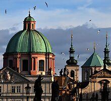 Prague Spires from Charles Bridge by Jennifer Lyn King