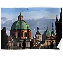 Prague Spires from Charles Bridge Poster