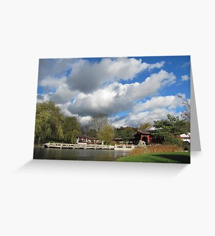 Chinese Garden in November Greeting Card
