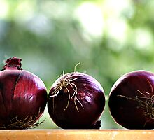 red onions ready to be chopped... by Gregoria  Gregoriou Crowe