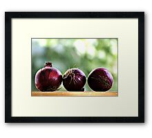 red onions ready to be chopped... Framed Print