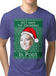 POOT LOVATO CHRISTMAS MEME Tri-blend T-Shirt
