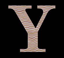 Letter Y Metallic Look Stripes Silver Gold Copper by theartofvikki