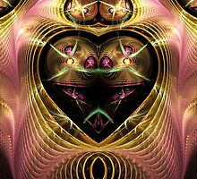 Shimmering Pink and Gold Swirling Heart by pjwuebker