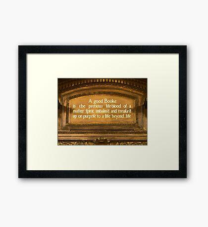 A Good Booke Framed Print
