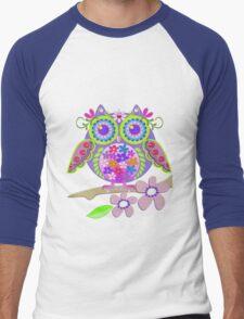Cute Flower Power Owl Men's Baseball ¾ T-Shirt