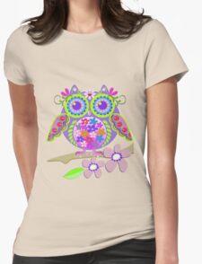 Cute Flower Power Owl Womens Fitted T-Shirt
