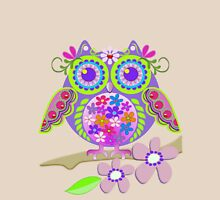 Cute Flower Power Owl Womens Fitted T-Shirt