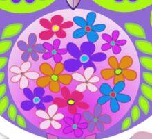 Cute Flower Power Owl Sticker