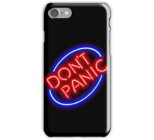 "Hitchhiker's Guide - ""Don't Panic"" Neon Sign iPhone Case/Skin"