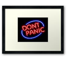 "Hitchhiker's Guide - ""Don't Panic"" Neon Sign Framed Print"