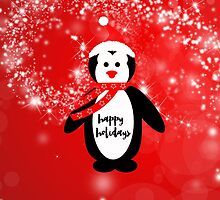 Cute happy holidays penguin red white pattern  by Maria Fernandes