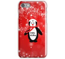 Cute happy holidays penguin red white pattern  iPhone Case/Skin