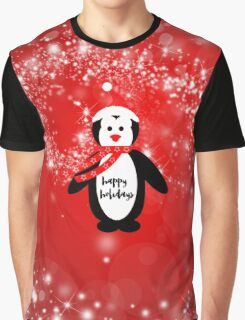Cute happy holidays penguin red white pattern  Graphic T-Shirt