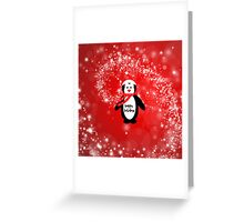 Cute happy holidays penguin red white pattern  Greeting Card