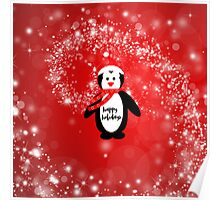 Cute happy holidays penguin red white pattern  Poster