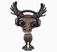 Cute Musical Moose Dj Wearing Headphones  One Piece - Short Sleeve
