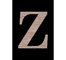 Letter Z Metallic Look Stripes Silver Gold Copper Photographic Print