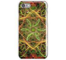 Green Flower in Gold Star Abstract iPhone Case/Skin