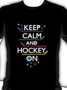 Keep Calm and Hockey On - dark T-Shirt