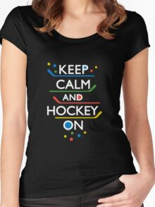 Keep Calm and Hockey On - dark Women's Fitted Scoop T-Shirt