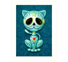 Blue Zombie Sugar Kitten Cat Art Print