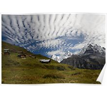 Fog shrouded valley below the Bernese Oberland Poster