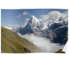Verdant meadows below the Eiger in Switzerland Poster