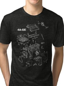 4A-GE Engine Diagram (Dark Colors) Tri-blend T-Shirt