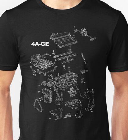 4A-GE Engine Diagram (Dark Colors) Unisex T-Shirt