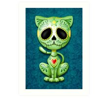 Green Zombie Sugar Kitten Cat Art Print
