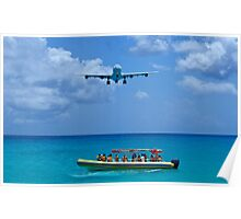 Passenger airplane overflies boat. Poster