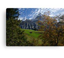 Swiss Fall Meadow below Eiger Canvas Print