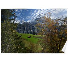 Swiss Fall Meadow below Eiger Poster