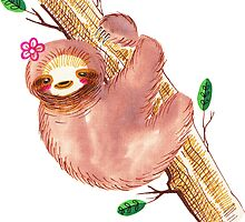 Cute Watercolor Sloth by SaradaBoru