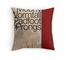 Moony, Wormtail, Padfoot, and Prongs Throw Pillow