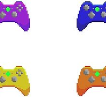 Pixel Xbox Controllers - Rainbow Set by sleepyspooks