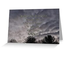 A reminder to set your clocks back Greeting Card