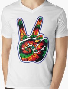 Tie-Dye Peace Sign Mens V-Neck T-Shirt