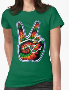 Tie-Dye Peace Sign Womens Fitted T-Shirt