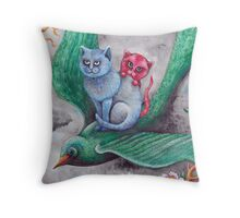 Tea cup kittens adventure Throw Pillow