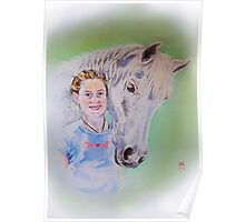 Young girl with her horse Poster