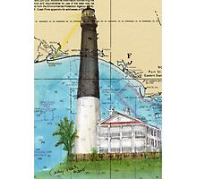 Pensacola Lighthouse FL Nautical Chart Cathy Peek Photographic Print