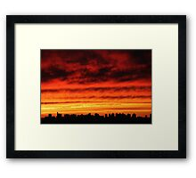 Cloudy Sunset in New York City  Framed Print