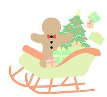 Gingerbread man in Sleigh #1 by simplepaperplan