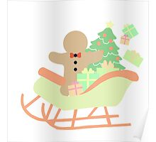 Gingerbread man in Sleigh #1 Poster