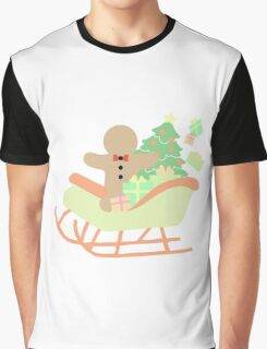 Gingerbread man in Sleigh #1 Graphic T-Shirt