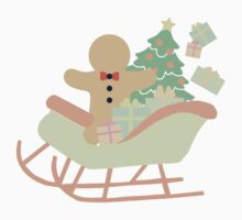 Gingerbread man in Sleigh #1 Kids Clothes